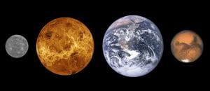 Mercury, Venus, Earth, and Mars